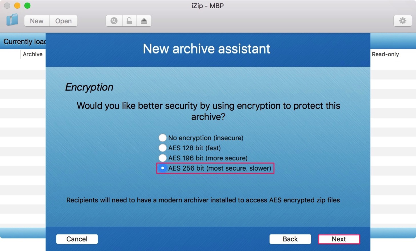 zipの暗号化の設定