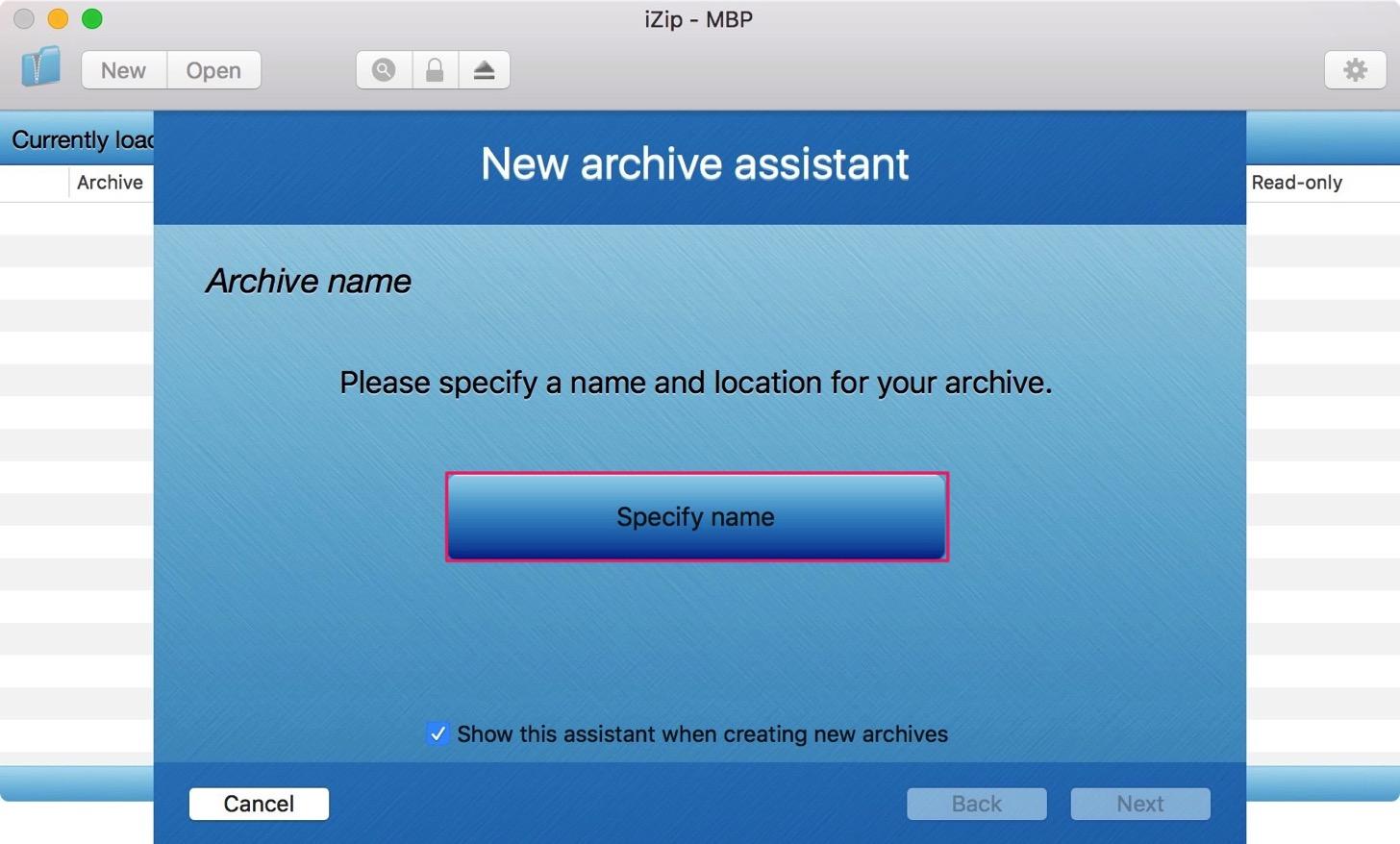 Specify nameボタンをクリック。