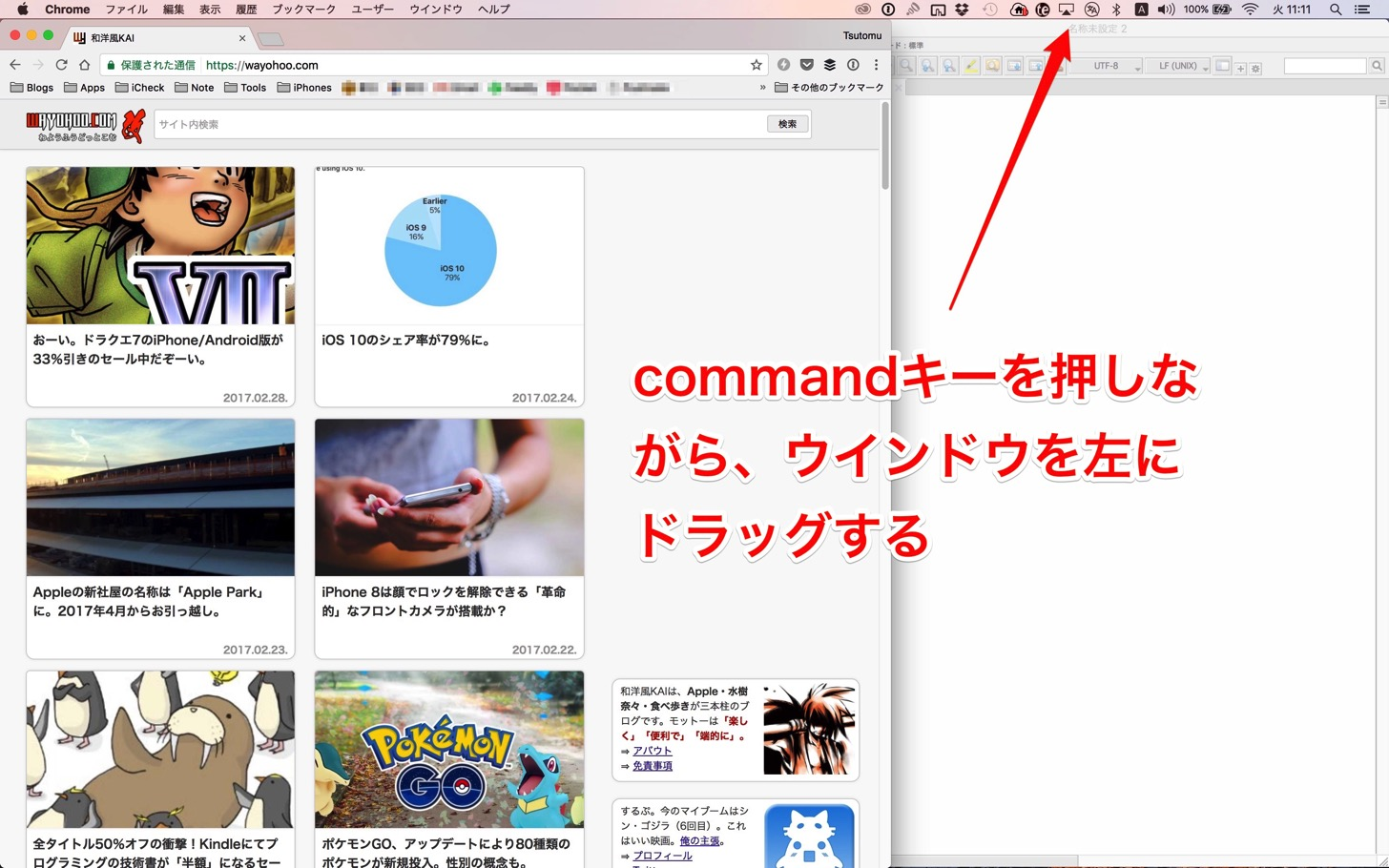 commandキーを押しながらウインドウを左にドラッグする。