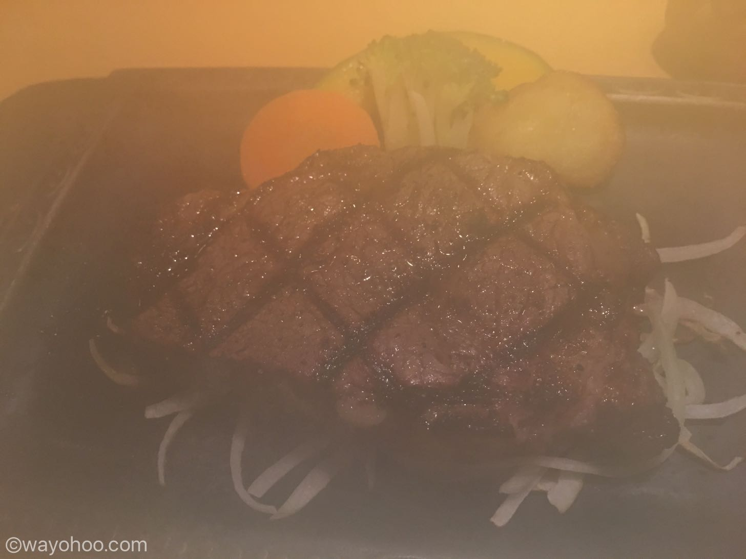 さわやかステーキの湯気