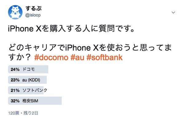 どのキャリアでiPhone Xを使おうと思っていますか?