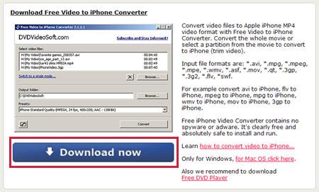 Free Video to iPhone Converterをダウンロードする。