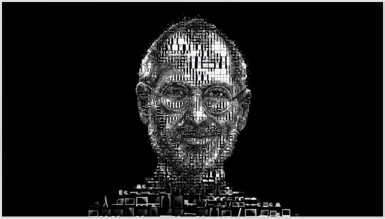Apple製品を並べて作ったスティーブ・ジョブズ閣下の顔。