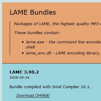 Lameをダウンロード。