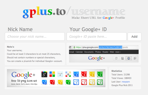 Gplus to username 01