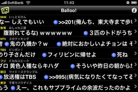 テレビをニコニコ動画化する2ちゃんねる実況板専用iPhone & iPod touchアプリ「Ballo!」