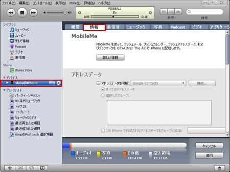 iPhone 3Gの情報タブを表示