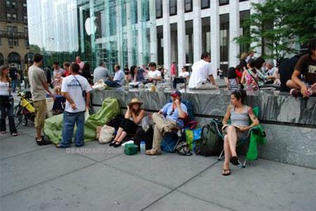 ニューヨークのiPhone行列模様3