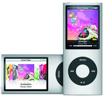 iPod nanoも加速度センサーを搭載。シャカシャカ振ることでランダムに曲を再生させることも可能。
