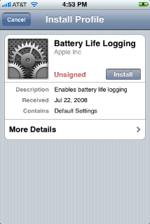 Battery Life Logging configuration profile