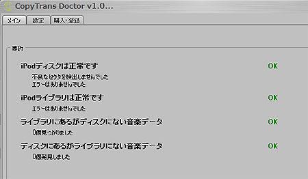 CopyTransDoctorの診断結果。