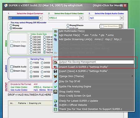 「SUPER C」:音声抽出コピーした保存場所をきめる。