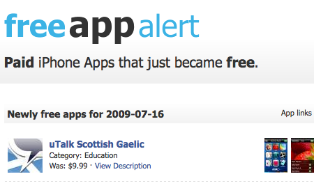 有料だったiPhoneアプリが無料になったらお知らせしてくれるサイト「FreeAppAlert」