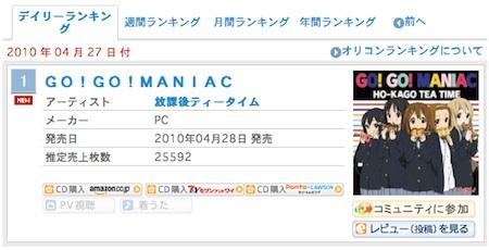 けいおん!!の GO!GO!MANIAC と Listen!! オリコンデイリー1〜2位独占キタ - .∵・(゚∀゚)・∵. - ッ!!