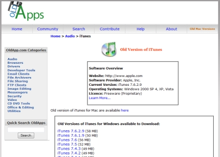 旧バージョンのiTunesを全てアーカイブしているサイト。