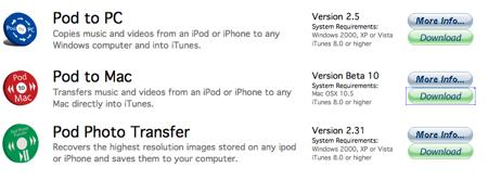 Pod to Macをダウンロードしましょう。