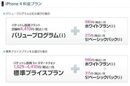 iPhone 4 料金プラン
