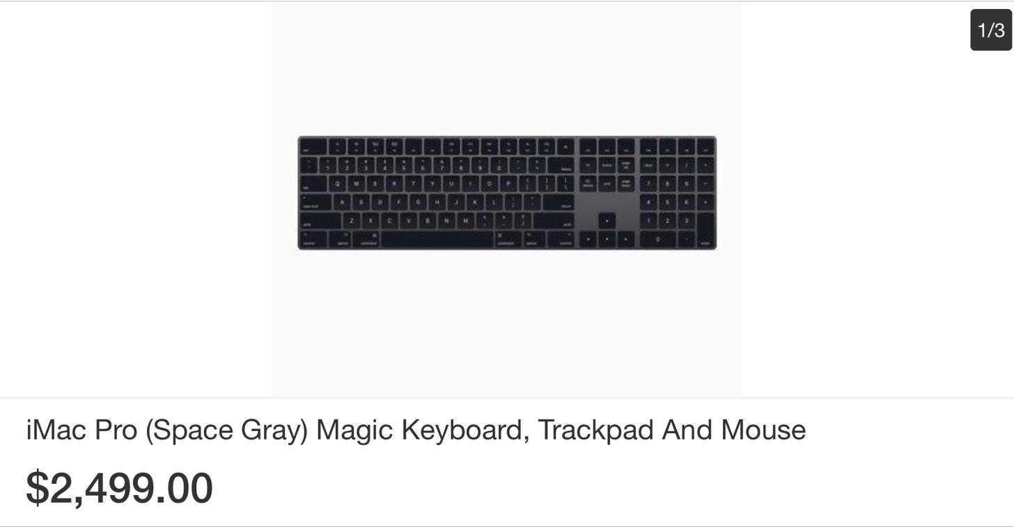 ebayにiMac Proのキーボードとマウスとトラックパッドが出品
