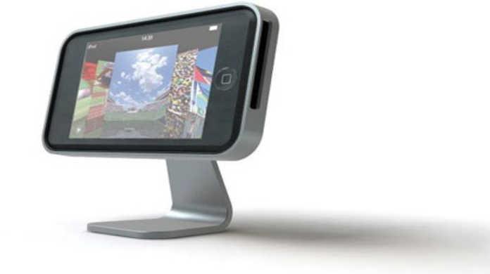 iPhoneを横がけにして、TVみたいにするアルミスタンド「iClooly」