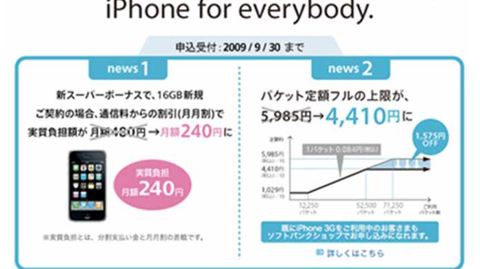 「iPhone 3G」16GBモデルの価格が月額240円と半額に値下げ!