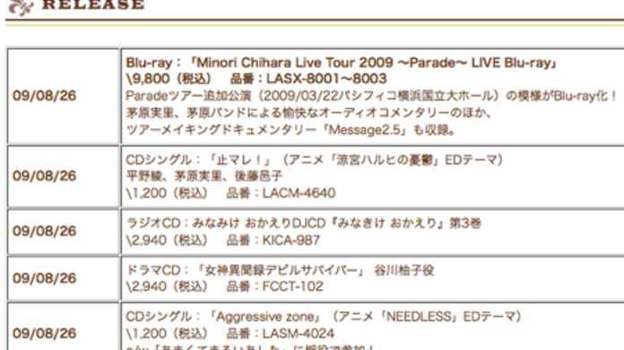 茅原実里、Blu-ray版「Minori Chihara Live Tour 2009 ~Parade~」をリリース