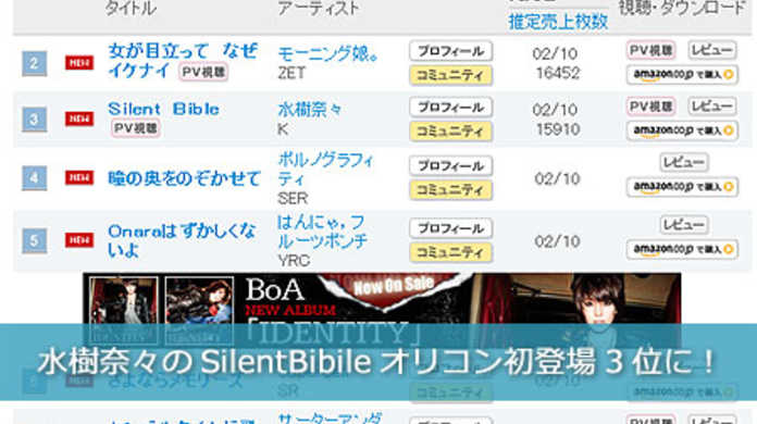 水樹奈々のSilent Bibleが強豪ひしめくオリコンデイリー初登場3位を獲得!