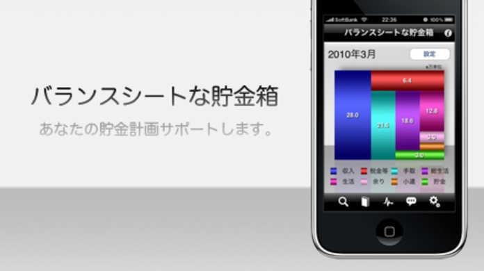 バランスシートで貯金を管理するiPhoneアプリ「バランスシートな貯金箱」