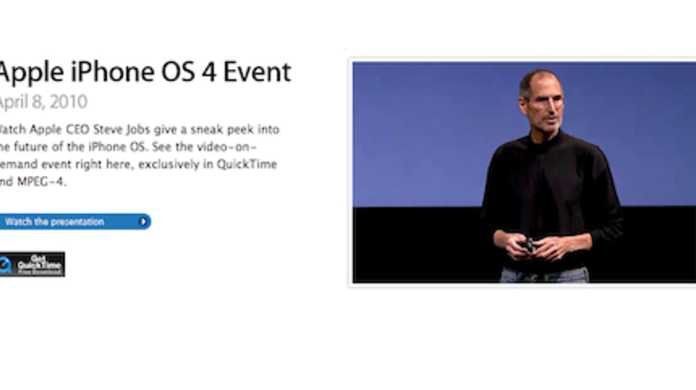 iPhone OS 4.0イベントのムービーがAppleにて見れるように!