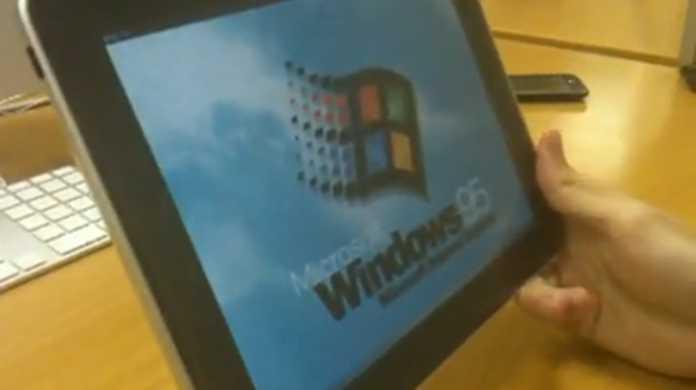 なんと iPad や iPhone で Windows 95 が動く動画。