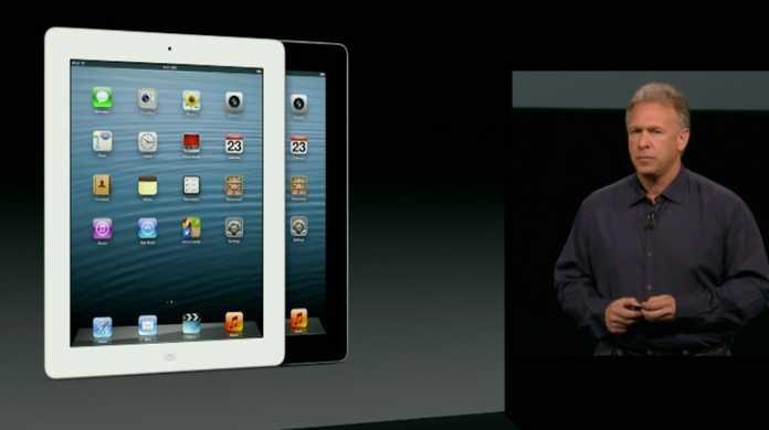 新しいiPad(第4世代)が発表。A6Xチップを搭載しLightningとLTEとauをサポート。発売日は2012年11月2日。
