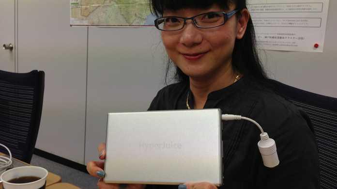 発売前の「HyperJuice 2」をact2さんで触ってきました!USB端子x2とバッテリー残量がわかる液晶モニタは、やはり便利!
