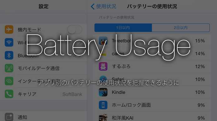 【iOS 8】進化した iPhone / iPad のバッテリーの使用状況。アプリ別に把握できる。【新機能】