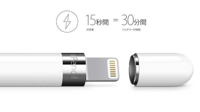 Apple Pencilの驚異的な回復力がヤバイ。→ 「15秒の充電で30分間稼働。」