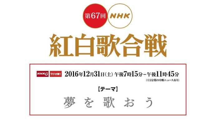 第67回 NHK紅白歌合戦 2016の出場歌手と初出演者と放送時間まとめ。