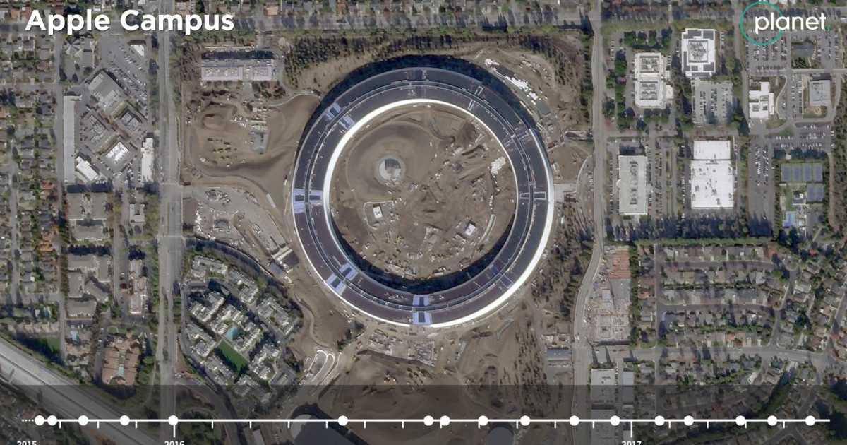 衛星カメラが捉えた新社屋「Apple Park」の建設工事の成り行き。