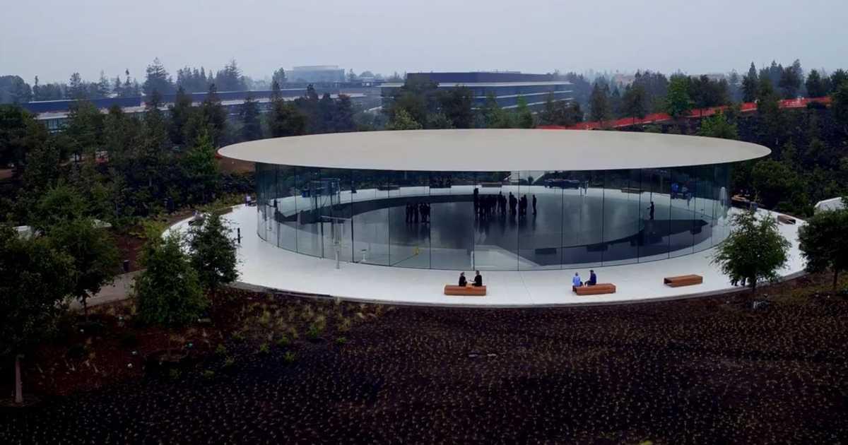 iPhone8発表会の会場「スティーブ・ジョブズ・シアター」を空から見に行こう。