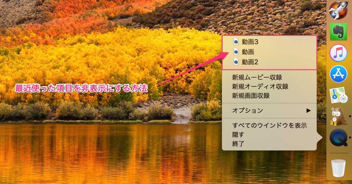 【Mac】アプリの「最近使った項目(ファイル)」を非表示にする方法。- Dockからも非表示。