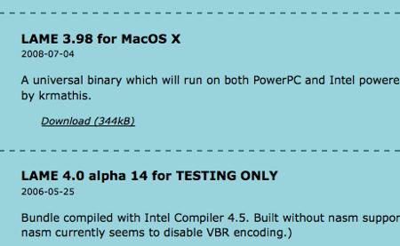 LAME MacOS X版をダウンロード